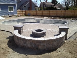 Raised Fire Pit INstallation Danvers MA