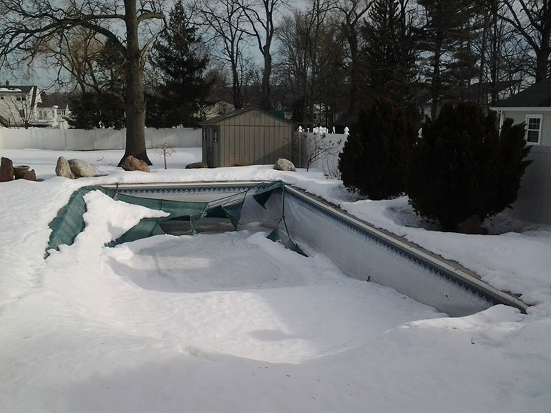 winter pool damage MA & NH